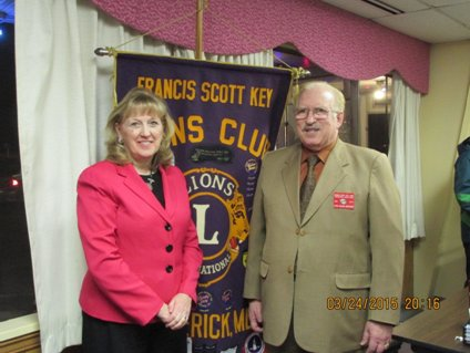 Frederick County Executive Jan Gardner with Francis Scott Key Lions President Syed Anderabi